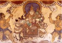 Shiva en Parvatti op de rug van Nandi in de Brihadishvara tempe in Tanjore